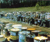 Superfund site from buried, abandoned drums of waste chemicals